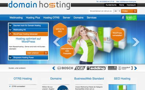 Screenshot of Home Page domain-hosting.de - domain webhosting - günstiger webspace inklusive domains - ihr open source webhoster - captured Dec. 4, 2016