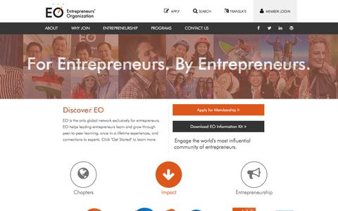 Screenshot of Home Page eonetwork.org - Entrepreneurs' Organization — EO is the World's Only Peer-to-peer Network Exclusively for Entrepreneurs - captured Sept. 22, 2014