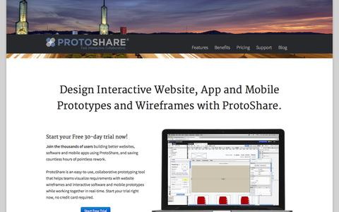 Screenshot of Home Page protoshare.com - Mockups & Website Wireframes | ProtoShare - captured Nov. 10, 2015