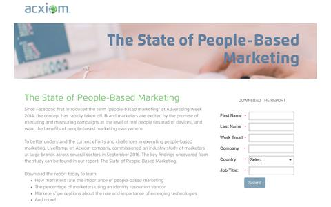 Screenshot of Landing Page acxiom.com - The State of People-Based Marketing Report - captured Nov. 21, 2016