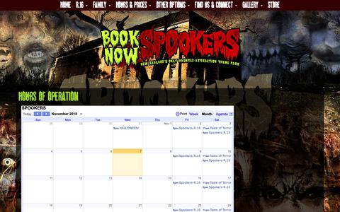 Screenshot of Hours Page spookers.co.nz - Spookers Dates & Hours of Operation - captured Nov. 7, 2018