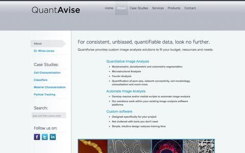 Screenshot of About Page quantavise.com - Services provided by Quantavise - captured Sept. 26, 2014