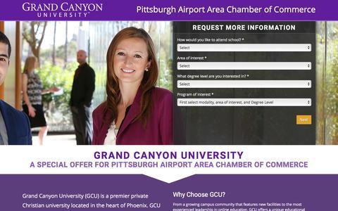 Screenshot of Landing Page gcu.edu - Pittsburgh Airport Area Chamber of Commerce | GCU - captured Nov. 7, 2016