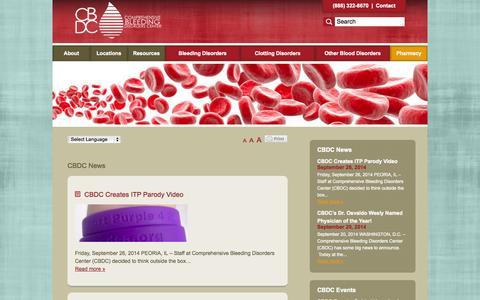 Screenshot of Press Page compbleed.com - CBDC News Archives - Comprehensive Bleeding Disorders Center - captured Oct. 1, 2014