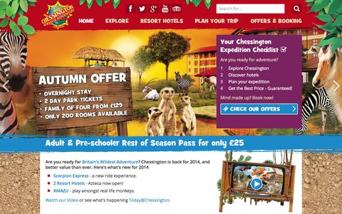 Screenshot of Home Page chessington.com - Official Chessington World of Adventures Resort website: Best Price Guaranteed for Theme Park - captured Sept. 19, 2014