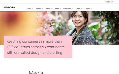 Screenshot of Press Page pandoragroup.com - Media - captured Sept. 1, 2019