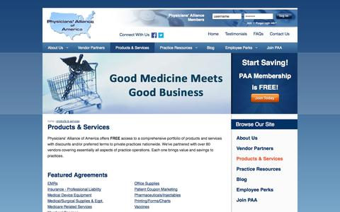 Screenshot of Products Page physall.com - Physician Products & Services | Physicians' Alliance of America - captured Oct. 2, 2014