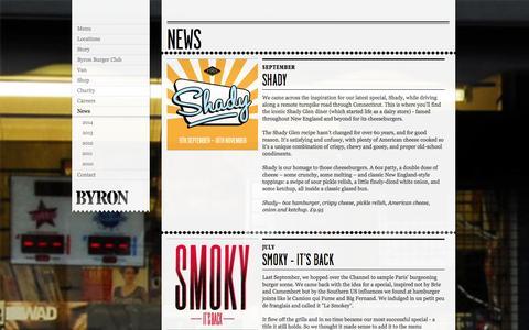 Screenshot of Press Page byronhamburgers.com - News - Byron - Proper Hamburgers - captured Sept. 23, 2014