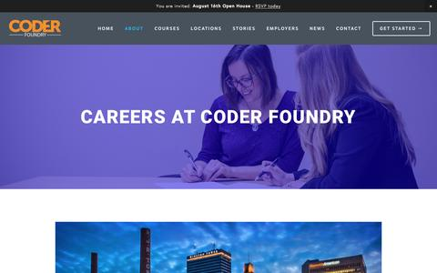 Screenshot of Jobs Page coderfoundry.com - Coder Foundry | Careers - captured July 14, 2016