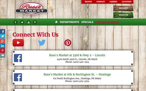 Screenshot of Locations Page russmarket.com - Connect With Us - Russ's Market - Lincoln, NE - captured June 21, 2016