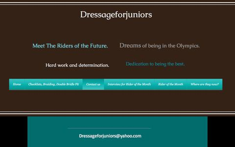 Screenshot of Home Page Contact Page dressageforjuniors.com - Dressageforjuniors.com, Dressage for Junior & Young Riders Contact us - captured June 5, 2017