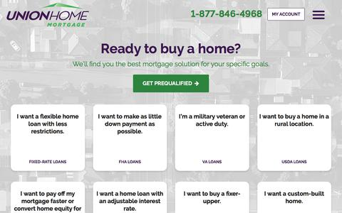 Screenshot of Products Page unionhomemortgage.com - Buy Your Home | Union Home Mortgage - captured Feb. 9, 2020