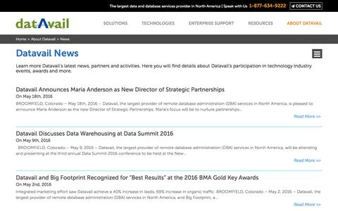 Screenshot of Press Page datavail.com - Database Services News | Datavail News - captured June 5, 2016