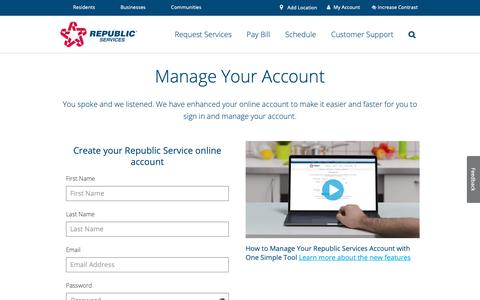 Screenshot of Signup Page republicservices.com - Login to Your My Resource Account | Republic Services - captured Nov. 15, 2018