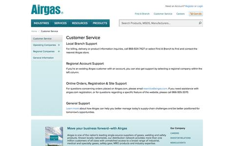 Screenshot of Support Page airgas.com - Airgas - captured Oct. 31, 2014