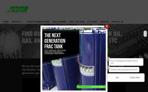Screenshot of Home Page etctank.com - Environmental Tank and Container (ETC) - Frac Tanks, Aboveground Stadium Tanks (AST) - captured Nov. 10, 2018