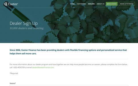 Screenshot of Signup Page exeterfinance.com - Sign Up |  Exeter Finance - captured Sept. 29, 2018