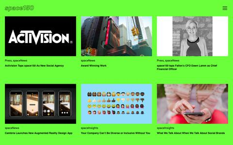 Screenshot of Press Page space150.com - News | www.space150.com - captured Nov. 17, 2018