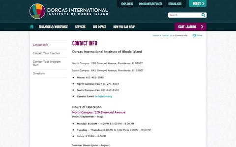 Screenshot of Contact Page Hours Page diiri.org - Contact Info - Contact Us - Dorcas International Institute of Rhode Island - captured Oct. 23, 2014