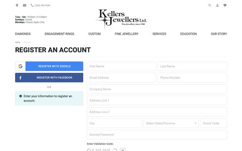 Screenshot of Signup Page kellersjewellers.com - Register | Keller's Jewellers | Lantzville, BC - captured Nov. 15, 2018