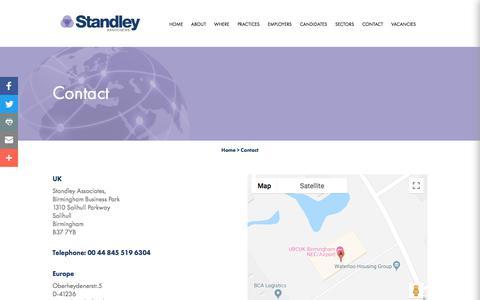 Screenshot of Contact Page standleyassociates.com - Contact | Standley Associates - captured Sept. 21, 2018