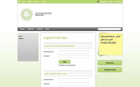 Screenshot of Login Page alternative-training.com - Login and Tech Test - captured Sept. 30, 2014