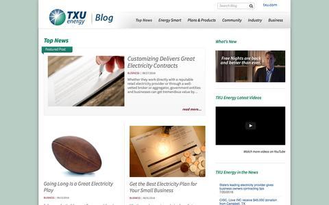 Screenshot of Blog txu.com - TXU Energy Blog - captured Dec. 8, 2016
