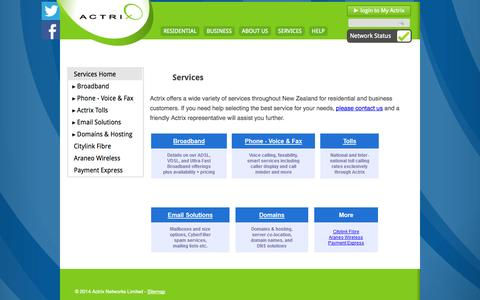 Screenshot of Services Page actrix.co.nz - Services   Actrix Networks - captured Sept. 23, 2014