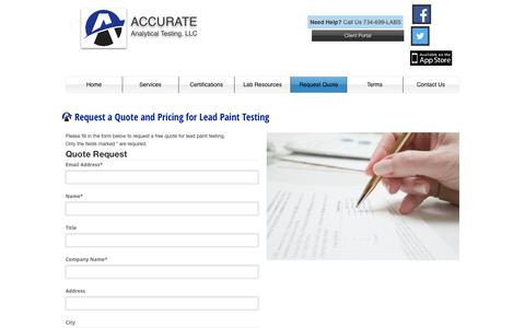 Screenshot of Pricing Page accurate-test.com - Lead Paint Laboratory Lab Test Services, Accurate Analytical Testing, Michigan - captured Feb. 5, 2016