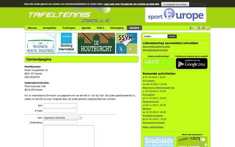 Screenshot of Contact Page tafeltenniszwolle.nl - Contact - captured Oct. 7, 2014