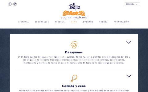 Screenshot of Menu Page restauranteelbajio.com.mx - Menú – El Bajío - captured Feb. 20, 2018