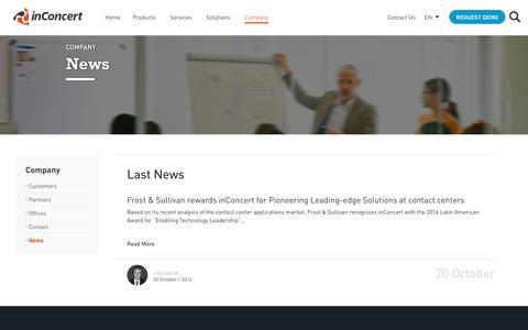 Screenshot of Press Page inconcertcc.com - News - inConcert - captured Oct. 16, 2017