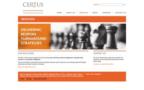 Screenshot of Services Page certus.ie - Certus Financial Outsourcing - Loan Servicing Ireland, Corporate Debt Recovery Ireland - captured Sept. 29, 2014