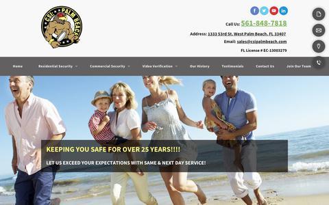 Screenshot of Home Page csipalmbeach.com - Home Security | Palm Beach, FL | CSI Palm Beach, LLC. - captured Nov. 4, 2018
