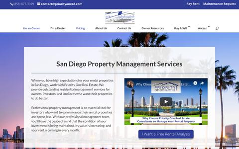 Screenshot of Pricing Page priorityonesd.com - San Diego Property Management Services | Priority One Real Estate - captured Dec. 15, 2018