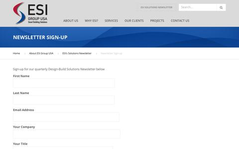 Screenshot of Signup Page esigroupusa.com - Newsletter Sign-up - ESI Group USA - captured Dec. 7, 2018