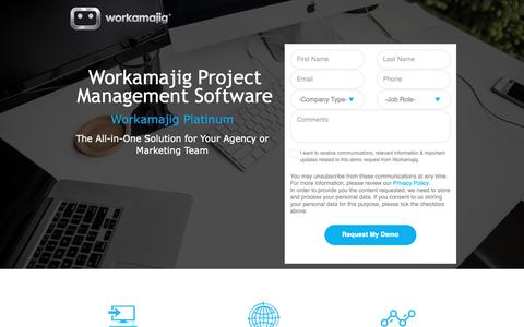 Screenshot of Landing Page workamajig.com captured April 19, 2019