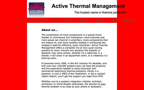Screenshot of About Page activethermal.com - home theater cooling - captured Nov. 20, 2016