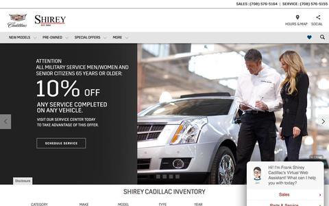 Screenshot of Home Page shireycadillac.com - Shirey Cadillac in Oak Lawn | Your Merrillville, IN, Chicago and Orland Park Cadillac Dealer Alternative - captured Sept. 20, 2018