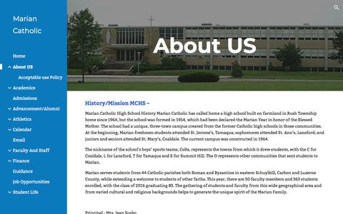 Screenshot of About Page google.com - Marian Catholic - About US - captured March 8, 2018