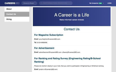 Screenshot of Contact Page careers360.com - Contact Us - captured Oct. 4, 2019