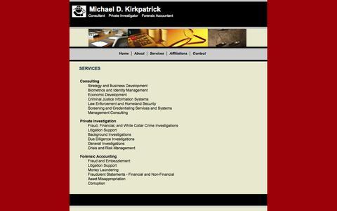 Screenshot of Services Page mdkirkpatrick.com - Services - captured Oct. 1, 2014