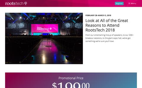 Screenshot of About Page rootstech.org - Why Attend - captured Nov. 18, 2017