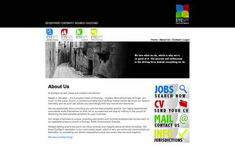Screenshot of About Page eyespyrecruitment.com - EyeSpy Recruitment | Jobs | Careers | Advice - captured Sept. 30, 2014
