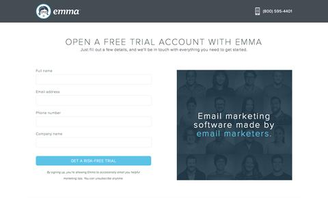 Screenshot of Trial Page myemma.com - Get Started - Email Marketing Contact Form | Emma Email Marketing - captured Feb. 16, 2017