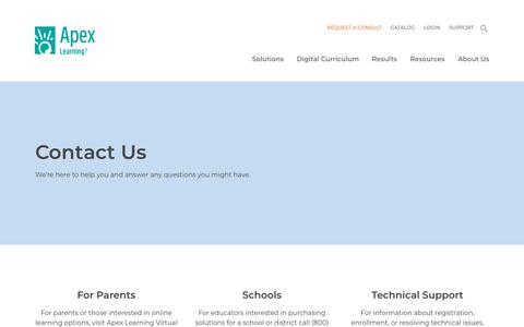 Screenshot of Contact Page apexlearning.com - Contact Us | Apex Learning - captured Oct. 31, 2019