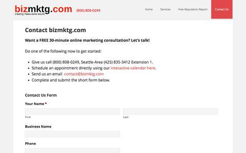 Screenshot of Contact Page bizmktg.com - Contact bizmktg.com - captured Nov. 22, 2016