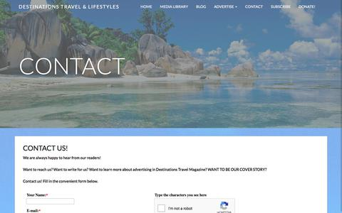 Screenshot of Contact Page destinationstravelmagazine.com - Contact - Destinations - captured Sept. 22, 2018