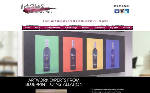 Screenshot of Home Page art-plus.com - Art Plus - Corporate Art Consultants Livingston NJ - captured July 30, 2018
