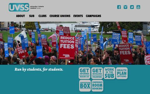 Screenshot of Home Page uvss.ca - Home - UVSS - University of Victoria Students' Society - captured Feb. 13, 2016